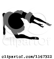 Clipart Of A Silhouetted Ballerina Dancing With A Reflection Or Shadow On A White Background Royalty Free Vector Illustration