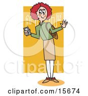 Preppy Redhead School Girl Clipart Illustration by Andy Nortnik