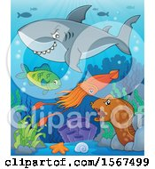 Clipart Of A Grinning Shark Over Other Sea Creatures Royalty Free Vector Illustration