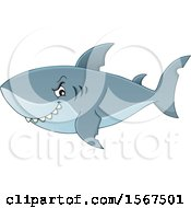Clipart Of A Grinning Shark Royalty Free Vector Illustration