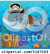Clipart Of A Pirate Shark Wearing A Hat Belt And Sword Over A Treasure Chest Royalty Free Vector Illustration