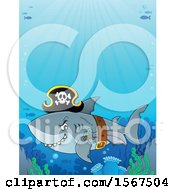Clipart Of A Pirate Shark Wearing A Hat Belt And Sword Royalty Free Vector Illustration