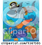 Clipart Of A Pirate Shark Wearing A Hat Belt And Sword Over Other Animals Royalty Free Vector Illustration