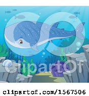 Clipart Of A Swimming Whale Shark Royalty Free Vector Illustration