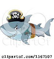Clipart Of A Pirate Shark Wearing A Hat Belt And Sword Royalty Free Vector Illustration by visekart