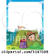 Clipart Of A Border Of A Scout Boy Camping And Waving From A Tent Royalty Free Vector Illustration