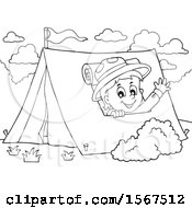 Clipart Of A Lineart Scout Boy Camping And Waving From A Tent Royalty Free Vector Illustration