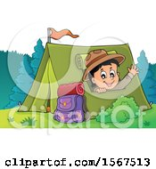 Clipart Of A Scout Boy Camping And Waving From A Tent Royalty Free Vector Illustration