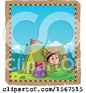 Clipart Of A Parchment Border Of A Scout Boy Camping And Waving From A Tent Royalty Free Vector Illustration