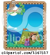 Clipart Of A Parchment Border Of An Owl And Scout Boy Camping And Waving From A Tent Royalty Free Vector Illustration