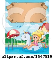Clipart Of A Girl Floating On A Unicorn Swim Toy Royalty Free Vector Illustration