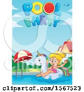 Girl Floating On A Unicorn Swim Toy With Pool Party Text