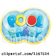 Clipart Of A Summer Time Pool Party Design Royalty Free Vector Illustration by visekart