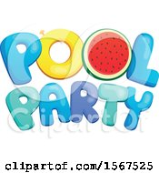 Clipart Of A Summer Time Pool Party Design Royalty Free Vector Illustration