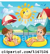 Clipart Of A Boy And Girl Floating On Inner Tubes Royalty Free Vector Illustration