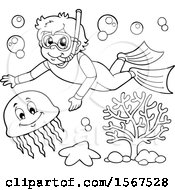 Clipart Of A Lineart Boy Snorkeling With A Jellyfish Royalty Free Vector Illustration