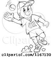 Lineart Boy Catching A Baseball
