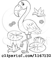 Clipart Of A Lineart Flamingo Royalty Free Vector Illustration by visekart