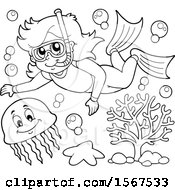 Lineart Girl Snorkeling With A Jellyfish