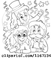 Clipart Of A Lineart Group Of Children With Photo Props At A Party Royalty Free Vector Illustration