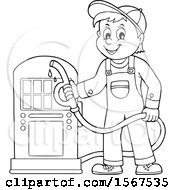 Clipart Of A Lineart Gas Station Attendant Holding A Nozzle Royalty Free Vector Illustration
