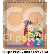 Clipart Of A Parchment Border Of A Group Of Children With Photo Props At A Party Royalty Free Vector Illustration