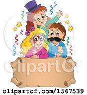 Clipart Of A Group Of Children With Photo Props At A Party Over A Scroll Royalty Free Vector Illustration