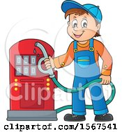 Clipart Of A Gas Station Attendant Holding A Nozzle Royalty Free Vector Illustration
