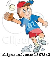 Clipart Of A Boy Catching A Baseball Royalty Free Vector Illustration
