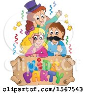 Clipart Of A Group Of Children With Photo Props At A Party Over A Kids Party Scroll Royalty Free Vector Illustration