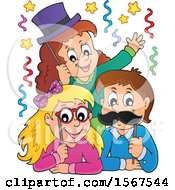 Clipart Of A Group Of Children With Photo Props At A Party Royalty Free Vector Illustration