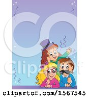 Clipart Of A Border With A Group Of Children With Photo Props At A Party Royalty Free Vector Illustration