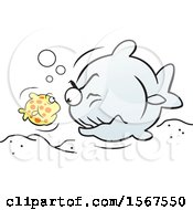 Clipart Of A Little Fish Facing Off With A Big Fish Royalty Free Vector Illustration