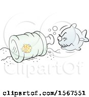 Clipart Of A Little Fish Safe In A Bottle Avoiding A Big Fish Royalty Free Vector Illustration by Johnny Sajem