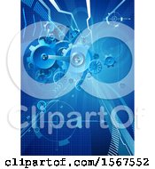 Clipart Of A Blue Background With 3d Gear Cog Wheels Royalty Free Vector Illustration