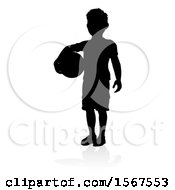 Clipart Of A Silhouetted Boy Holding A Ball With A Reflection Or Shadow On A White Background Royalty Free Vector Illustration