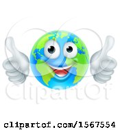 Poster, Art Print Of Happy Earth Mascot Giving Two Thumbs Up