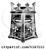 Clipart Of A Black And White Knights Great Helm Royalty Free Vector Illustration