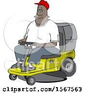 Poster, Art Print Of Cartoon Black Man Operating A Ride On Lawn Mower
