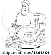 Poster, Art Print Of Cartoon Lineart Black Man Operating A Ride On Lawn Mower