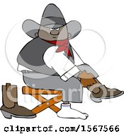 Clipart Of A Cartoon Black Cowboy Putting On His Boots Royalty Free Vector Illustration