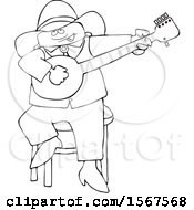 Clipart Of A Cartoon Lineart Black Cowboy Playing A Banjo Royalty Free Vector Illustration