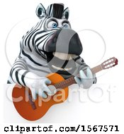 Clipart Of A 3d Zebra Holding A Guitar On A White Background Royalty Free Illustration by Julos