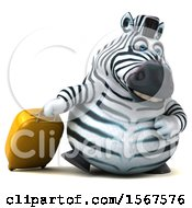 Clipart Of A 3d Zebra Traveler On A White Background Royalty Free Illustration by Julos