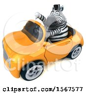 Clipart Of A 3d Zebra Driving A Convertible On A White Background Royalty Free Illustration by Julos