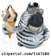 Clipart Of A 3d Zebra Holding A Waffle Cone On A White Background Royalty Free Illustration by Julos