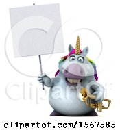 3d Chubby Unicorn Holding A Trumpet On A White Background
