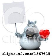Poster, Art Print Of 3d Chubby White Horse Holding A Heart On A White Background