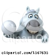 3d Chubby White Horse Holding A Golf Ball On A White Background