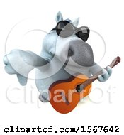 3d Chubby White Horse Holding A Guitar On A White Background